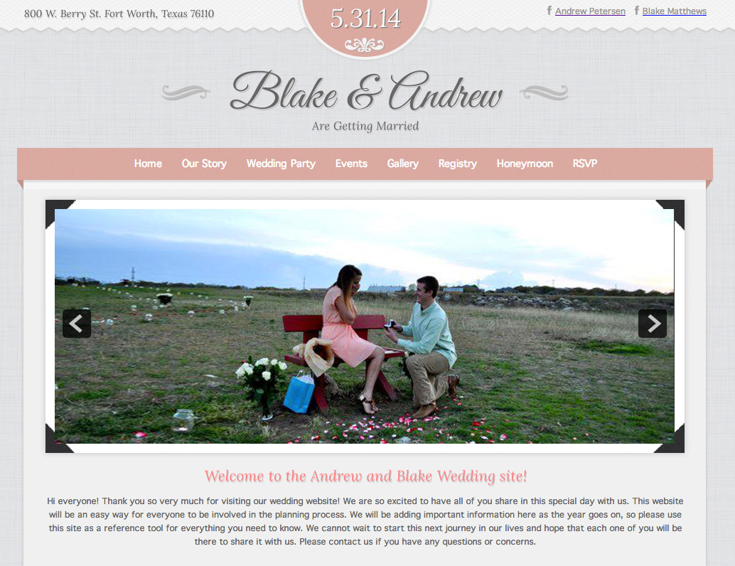 Andrew & Blake Wedding Website